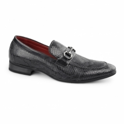 SANTORO Mens Faux Sankeskin Buckle Loafers Black