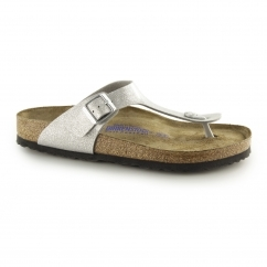 GIZEH Ladies Glitter Buckle Toe Post Sandals Silver