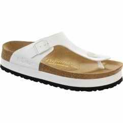 GIZEH Ladies Platform Toe Post Sandals White