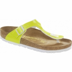 GIZEH Ladies Toe Post Sandals Neon Yellow