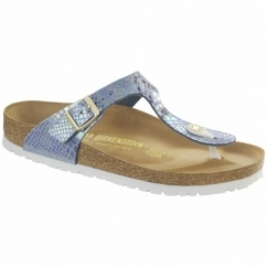 GIZEH Ladies Toe Post Sandals Snake Sky
