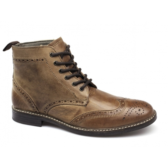 Red Tape GLAVEN Mens Leather Brogue Derby Boots Red Brown