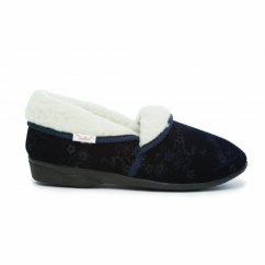 GLENDA Ladies Wool-Lined Floral Slippers Navy