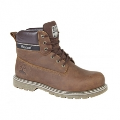 GLENN Mens Leather Lace-Up Goodyear Welted Boots Brown