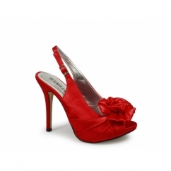CHANTELLE Ladies High Heel Satin Slingback Shoes Red