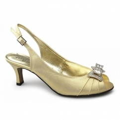 JANA Ladies Satin Diamante Bow Slingback Shoes Gold