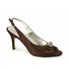 NATASHA Ladies High Heel Satin Slingback Shoes Brown