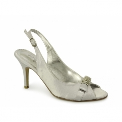 NATASHA Ladies High Heel Satin Slingback Shoes Silver