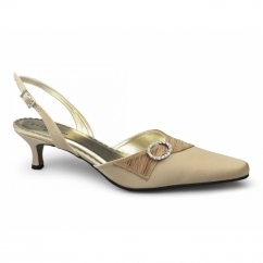 ROBERTA Ladies Satin Diamante Stiletto Shoes Bronze