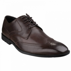 GLOBAL ROAD Mens Leather Wingtip Brogues Chocolate