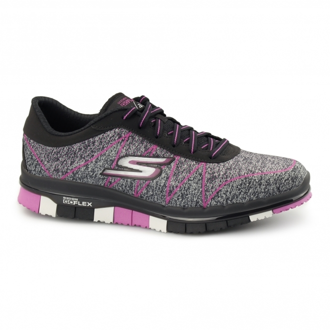Skechers GO FLEX WALK - ABILITY Ladies Trainers Black/Hot Pink