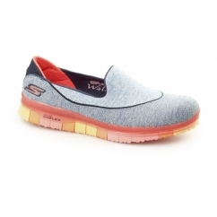GO FLEX WALK Ladies Slip-On Trainers Navy/Coral