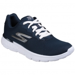 Skechers Go Run 400 Action Lace Up Trainers Shoe Ladies Navy White