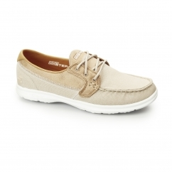 Skechers GO STEP-SEASHORE Ladies Canvas Boat Shoes Natural