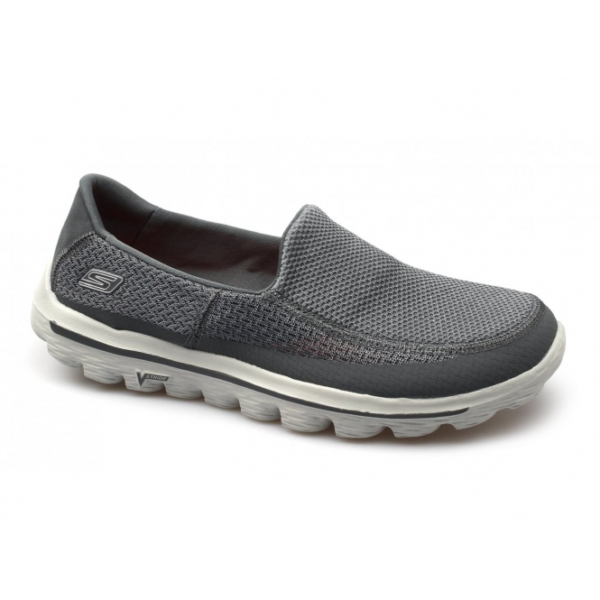 Skechers GO WALK 2 Mens Slip-On Walking Trainers Charcoal