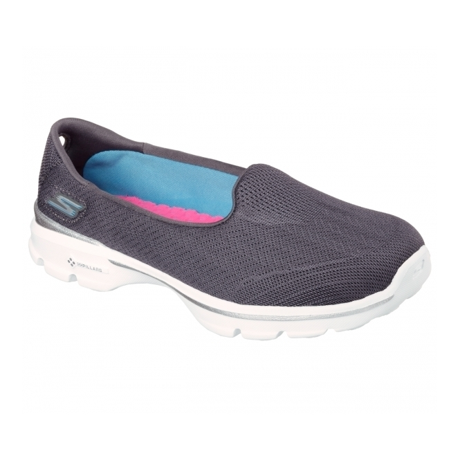 Skechers GO WALK 3 INSIGHT Ladies Casual Trainers Charcoal
