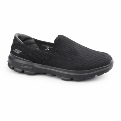 GO WALK 3 Mens Slip On Walking Trainers Black