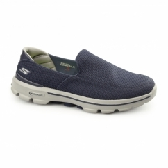 GO WALK 3 Mens Slip On Walking Trainers Navy/Grey