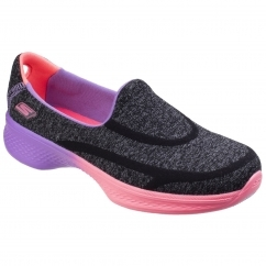 Skechers GO WALK 4 AWESOME OMBRES Girls Trainers Black/Multi | Shuperb