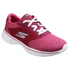 GO WALK 4 - EXCEED Ladies Lace Up Walking Trainers Raspberry