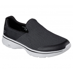 Skechers GO WALK 4 - EXPERT Mens Slip On Trainers Black/Grey | Shuperb