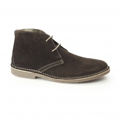Ikon GOBI Mens Suede 2 Eye Lace-Up Desert Boots Chocolate Brown