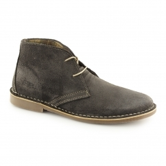 Ikon GOBI Mens Suede 2 Eye Lace-Up Desert Boots Grey