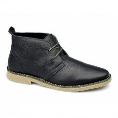GOBI Mens Leather Desert Boots Black