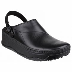 GOGH™ Ladies Leather Clog Shoes Black