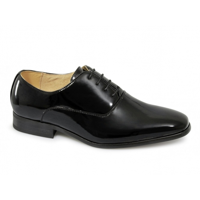 Boys 4 Eyelet Lace Up Patent Leather Smart Dress Shoes Black Shuperb