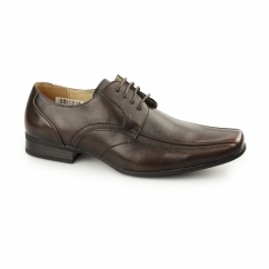 DIETER Mens Faux Leather Chisel Toe Gibson Shoes Brown