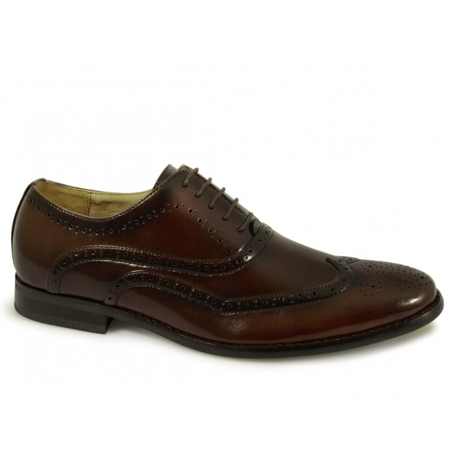 Goor GEORGE Mens Brogue Oxford Shoes Brown