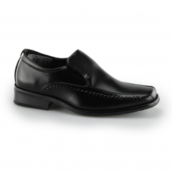 LOCO Boys Slip On School Loafers Black