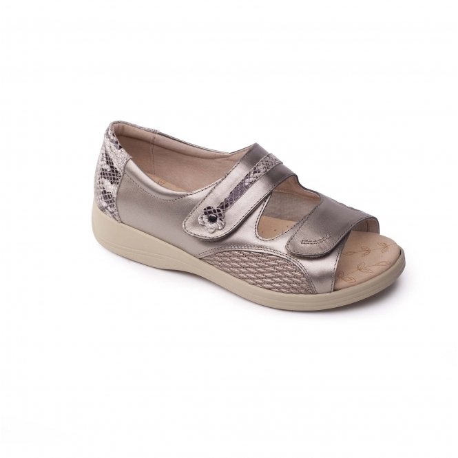 Padders GRACE Ladies Leather Super Wide Velcro Sandals Metallic