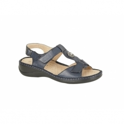 GRACIE Ladies Faux Leather Velcro Halter Back Sandals Navy
