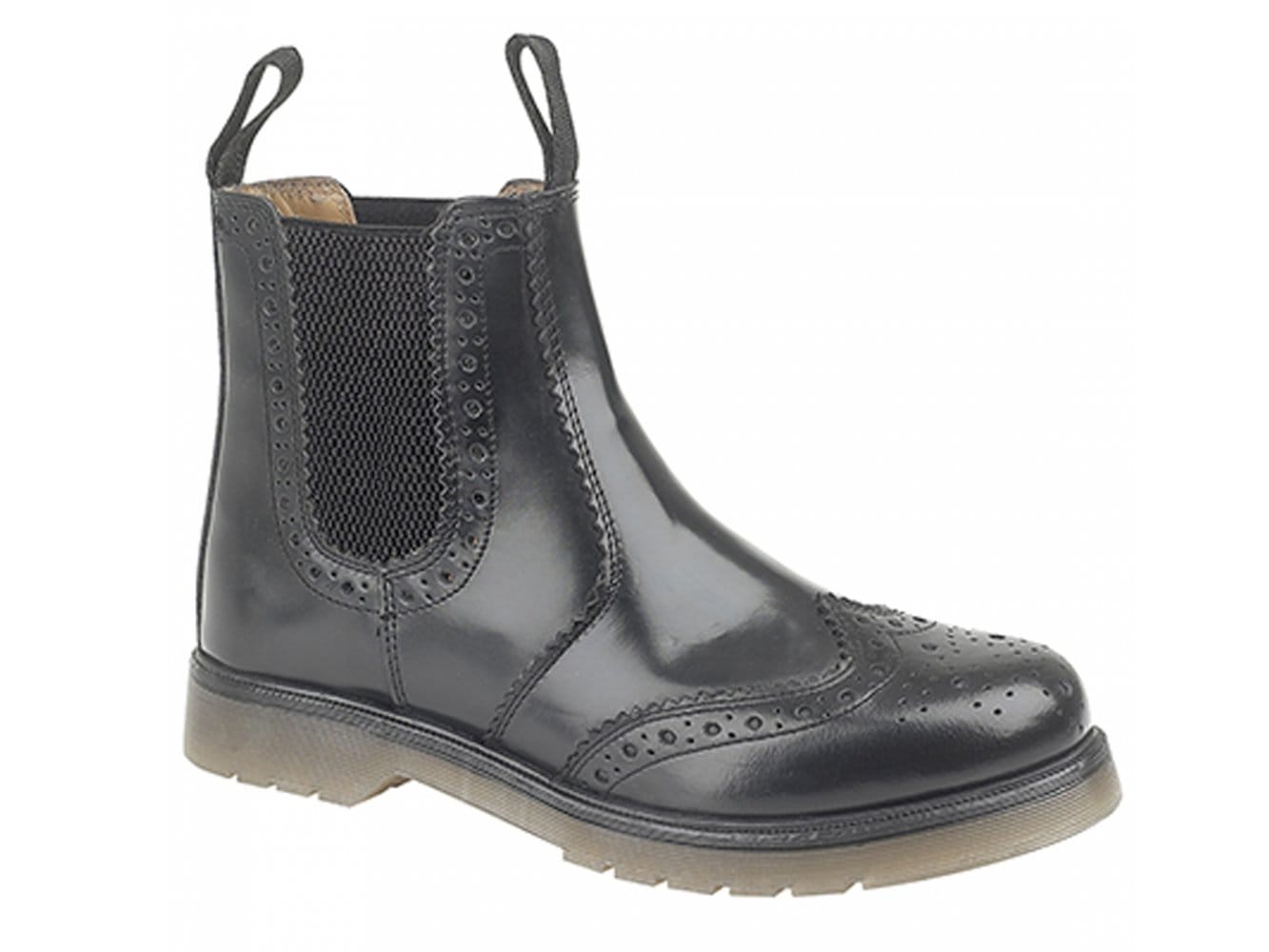 db427909aa3 Grafters DUDLEY Mens Leather Brogue Air Cushion Sole Dealer Boots Black