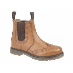 DUDLEY Mens Leather Brogue Air Cushion Sole Dealer Boots Tan