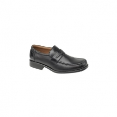 MANCHESTER Mens Leather Smart Loafers Black