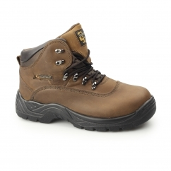Mens S3 SRC Leather Waterproof Safety Boots Brown