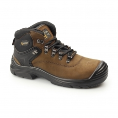 Mens S3 SRC WP Leather Super Wide Safety Boots Brown