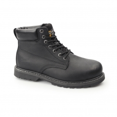 Mens SB SRA Leather Welted Safety Boots Black
