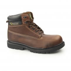 Mens SB SRA WP Leather Non Metal Safety Boots Brown
