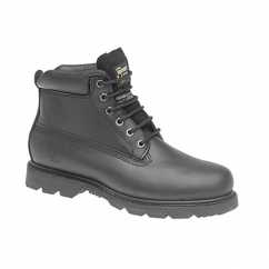 RICK Mens Leather Goodyear Welted Oil Resistant Work Boots Black