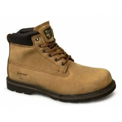 RICK Mens Leather Work Boots Light Brown