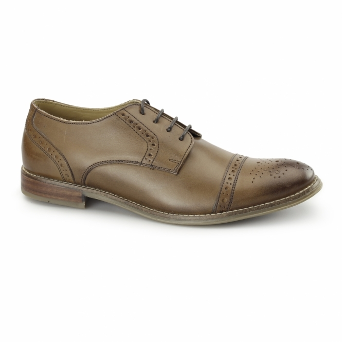 Ikon GRAYSON Mens Leather Toe Cap Brogues Tan