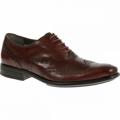 GRIFFIN MADDOW Mens Leather Oxford Brogue Shoes Oxblood