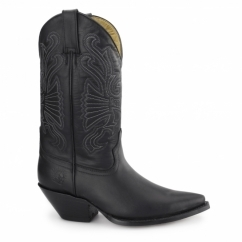 BUFFALO Unisex Leather Cuban Heel Cowboy Boots Black
