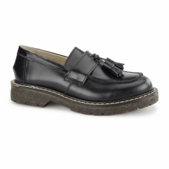 CUTHBERT Unisex Polished Leather MOD Loafers Black