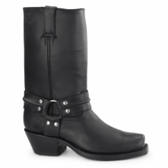 HARNESS HI Unisex Leather Harness Biker Boots Black