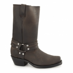 HARNESS HI Unisex Leather Harness Biker Boots Brown